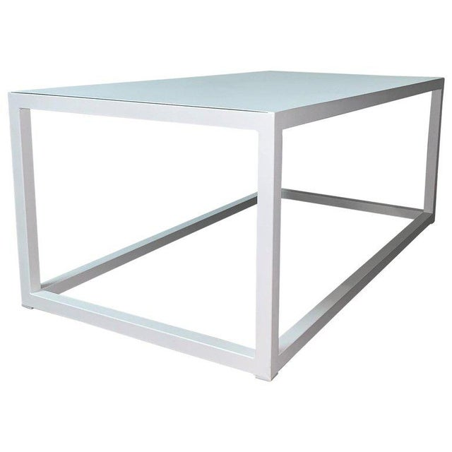 New Modern Rectangular White Table With Metal Top, Indoor or Outdoor For Sale - Image 12 of 12