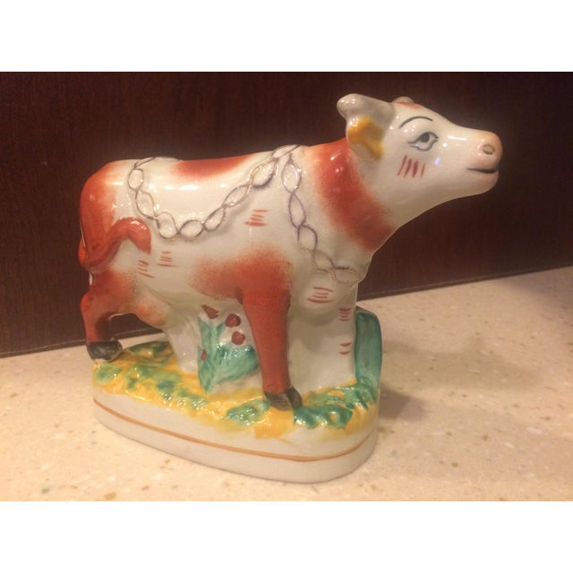 Ceramic Staffordshire Style Ceramic Cow Figurine For Sale - Image 7 of 7