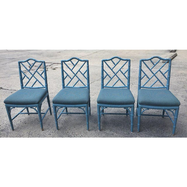 1980s 1980s Vintage Faux Bamboo Chinese Chippendale-Style Dining Chairs- Set of 4 For Sale - Image 5 of 5