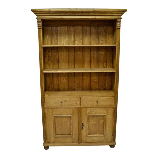 Antique Pine Bookcase With Two Doors and Two Drawers For Sale