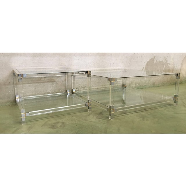 Midcentury Square Lucite Coffee Table With Chromed Metal Details For Sale In Miami - Image 6 of 13