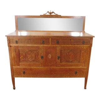 Antique Quartered Oak Late Victorian Dining Room Sideboard Cabinet c1890