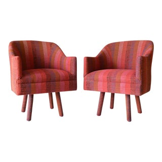 Pair of Swivel Armchairs With Vintage Jack Lenor Larsen Fabric, Circa 1970