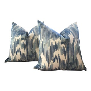 """Fabricut """"Outrageous"""" in Ocean Embroidered Blue and Aqu of 22"""" Plush Down Pillows - a Pair For Sale"""