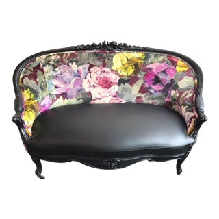 Painterly Floral Rolling Settee