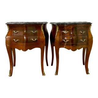 French Marble Top Bronze Ormolu Mini Commodes - a Pair For Sale