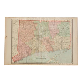 Cram's 1907 Map of Connecticut For Sale