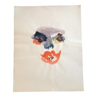 Original Vintage Abstract Watercolor Face Painting For Sale
