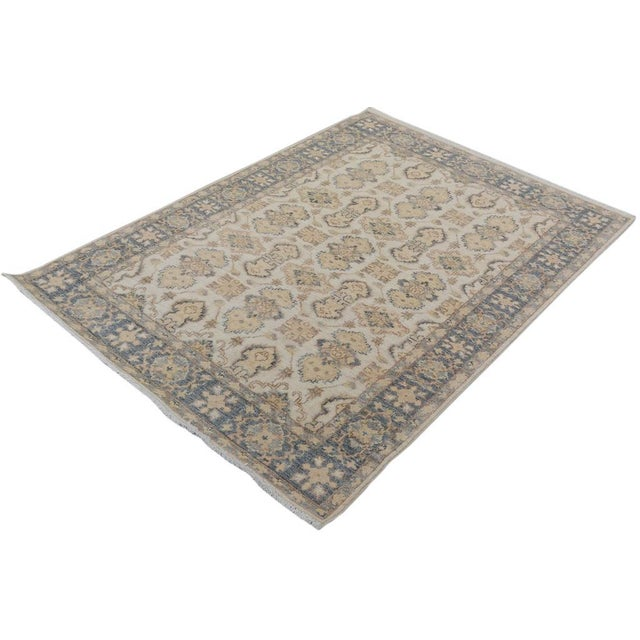 "Textile Kafkaz Peshawar Robby Ivory/Gray Wool Rug - 4'0"" X 5'8"" A9490 For Sale - Image 7 of 7"