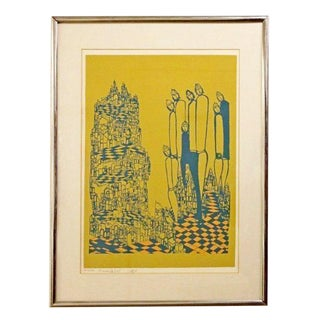Mid Century Modern Framed Etching 116/125 Signed and Numbered by Mireille Kramer For Sale