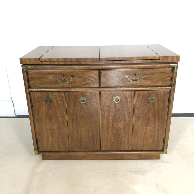 Drexel Campaign Fruitwood & Brass Bar Cabinet For Sale - Image 13 of 13