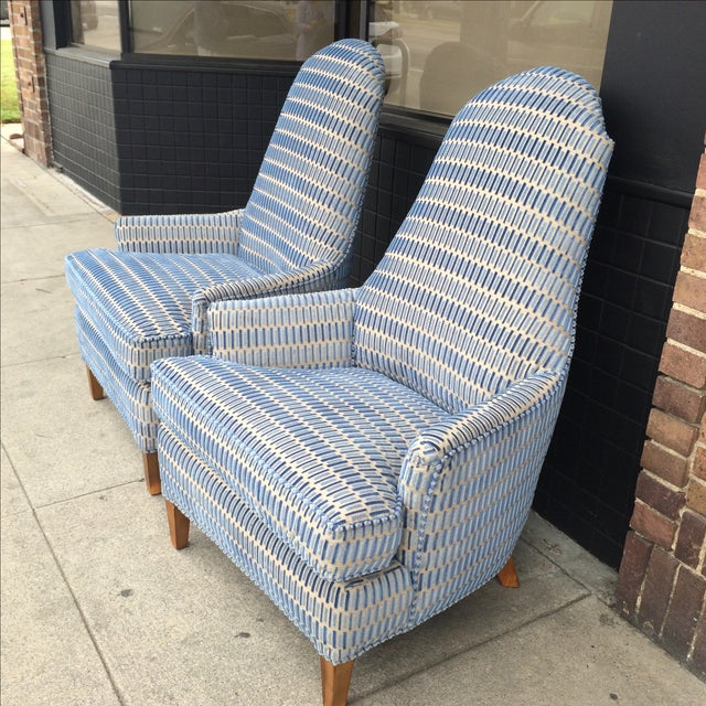 Hickory Cut Velvet Club Chairs - A Pair - Image 3 of 7