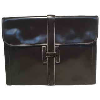 Hermes Vintage Brown Box Calf Leather Jige Clutch For Sale