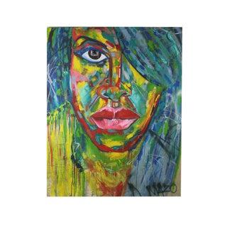 1990s Huge Technicolor Pop Art Portrait Oil Painting For Sale
