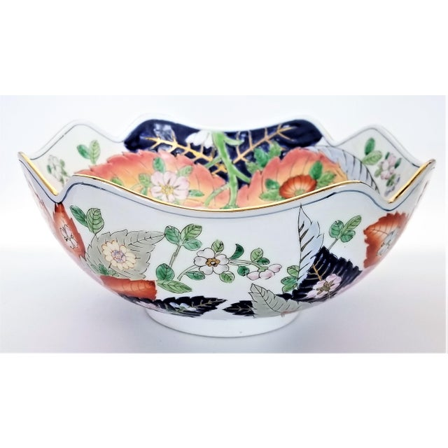 Large Chinese Porcelain Tobacco Leaf Bowl With Gold Trim - Feng Shui - Asian Palm Beach Boho Chic Flowers Peony Tropical Coastal For Sale In Miami - Image 6 of 13