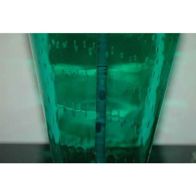 Vintage Murano Glass Table Lamps Green For Sale - Image 9 of 10