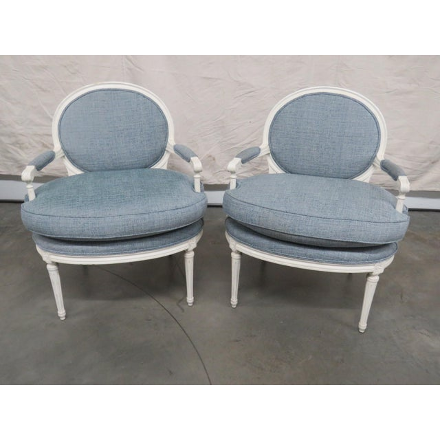 Louis XVI Style Armchairs - a Pair For Sale - Image 9 of 9