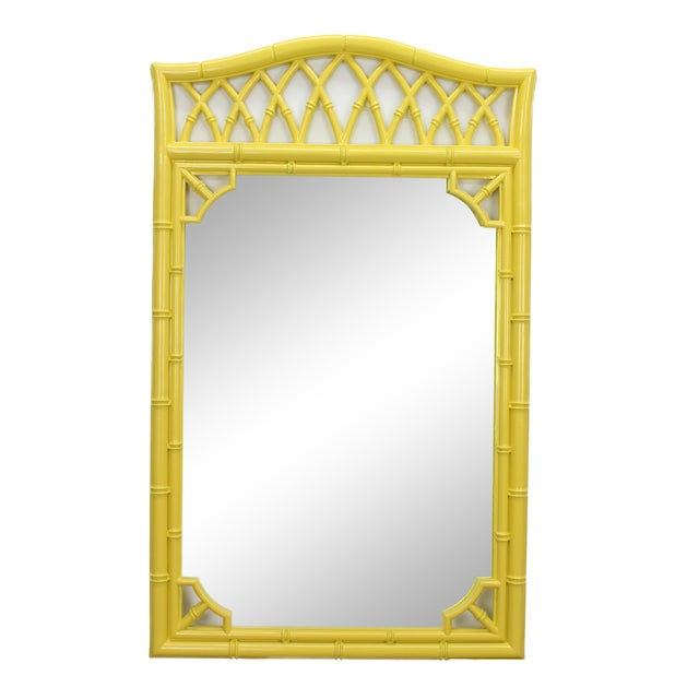 Vintage faux bamboo mirror beautifully painted in a bright sunny yellow with gloss finish this mirror had beautiful...