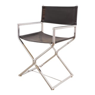 Mid Century Modern Chrome & Black Directors Chair For Sale