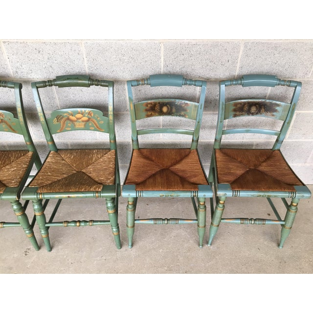 British Colonial Vintage L. Hitchcock Slat Back & Crown Back Rush Bottom Side Chairs - Set of 6 For Sale - Image 3 of 11