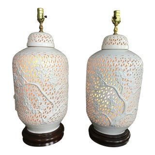 White Ceramic Blanc De Chin Lamps - a Pair For Sale