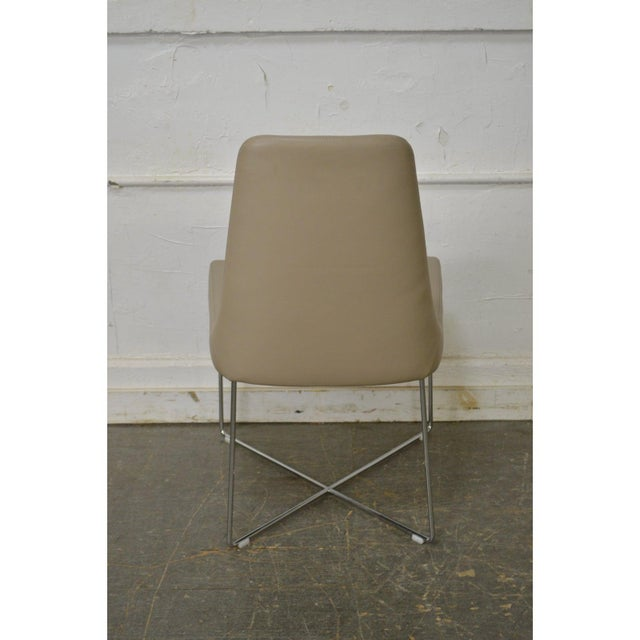 Ligne Roset Ligne Roset Classic Modern Chrome & Leather Dining Chairs - Set of 8 For Sale - Image 4 of 10
