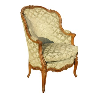 Antique Carved French Louis XV Style Barrel Back Sage Bergere Down Chair