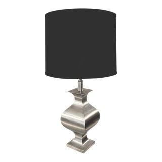 A Chic Matte Steel Table Lamp by Jansen in Orientalist Motif For Sale