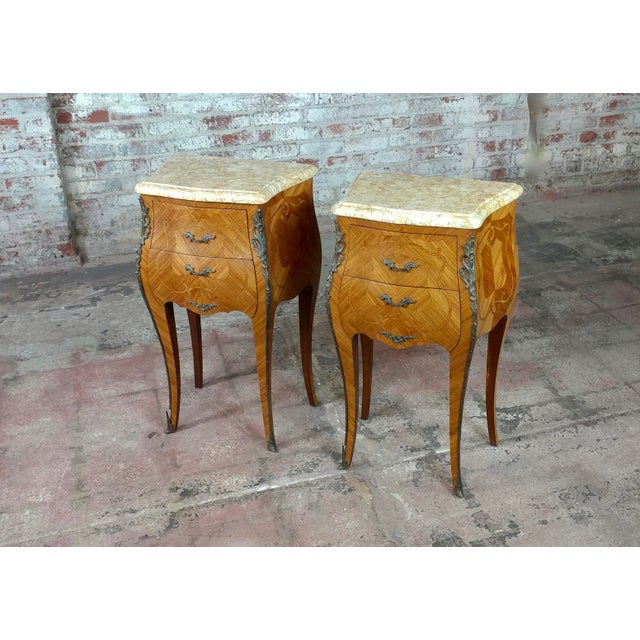 French Provincial French 19th Century Marquetry Petit Commodes- a Pair For Sale - Image 3 of 10