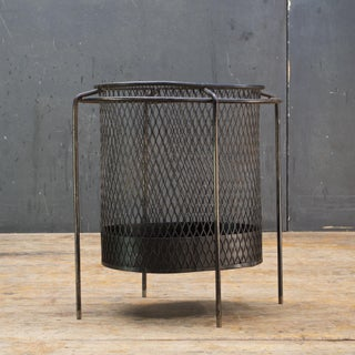 Maurice Duchin Floating Iron Mesh Wastebasket Trash Can Expanded Metal Modern Preview