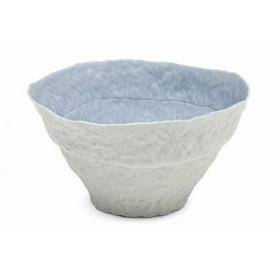 Hand built porcelain light blue and white bowl by Ingrid Bathe (American, contemporary).