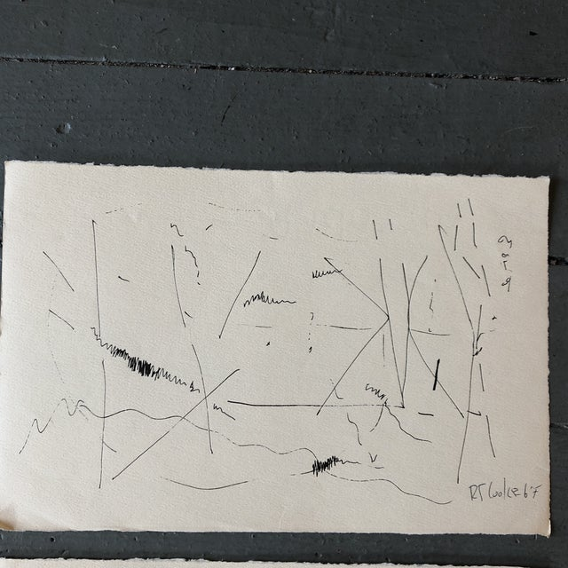 Black Gallery Wall Collection Original 1960's Robert Cooke Abstract Ink Drawings - Set of 4 For Sale - Image 8 of 10