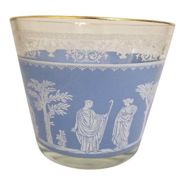 Vintage 1950s Jeanette Glass Co Blue Wedgewood Hellenic Grecian Ice Bucket For Sale