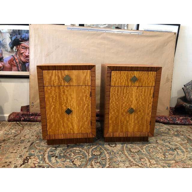 Mid Century Art Deco Night Stands W Movingui Wood Vaneer - a Pair For Sale - Image 13 of 13