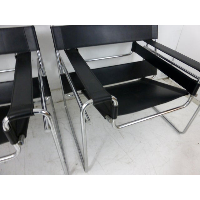 Marcel Breuer Black Leather Chrome Wassily Chairs - A Pair - Image 10 of 10