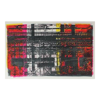 """Barbara Lewis """"Construction"""" Abstracted Industrial Scene in Red and Black, Serigraph, 1973 1973 For Sale"""