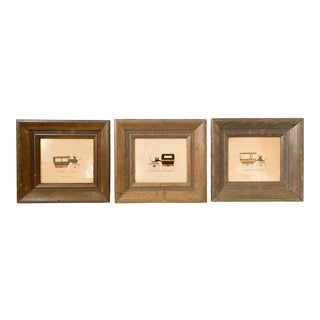 20th Century Victorian Carriage Embossed Prints in Frames - Set of 3 For Sale