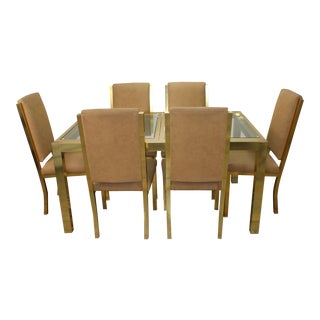 1990s Mid-Century Modern Brass Dining Table and Chairs - 7 Piece Set For Sale
