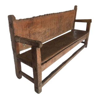 19th Century Rustic Scalloped Back Bench For Sale