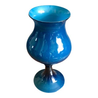 Large Empoli Cased Teal Pedestal Vase For Sale