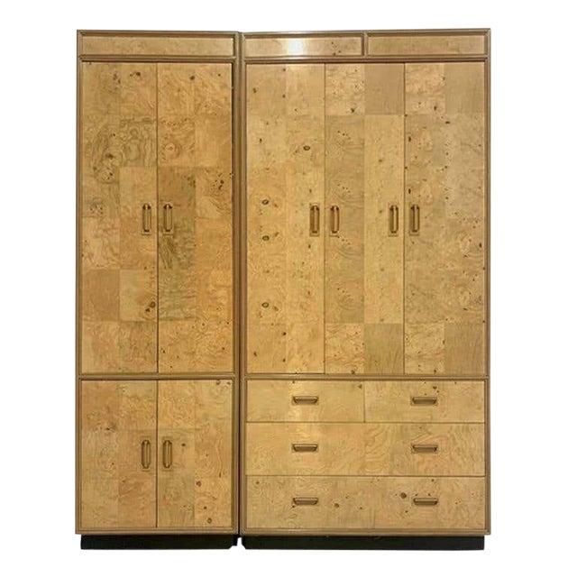 Henredon Olive Burl Burled Wood and Macassar Dresser Cabinet Shelving Wardrobe For Sale