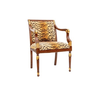 Councill Craftsman Mahogany Chair With Chenille Zebra Print Upholster For Sale