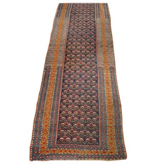 19th Century Kurdish Runner Rug - 3′4″ × 17′4″ For Sale