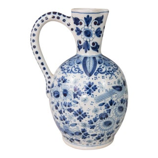 Antique Dutch Delft Faience Bird Floral Pitcher For Sale