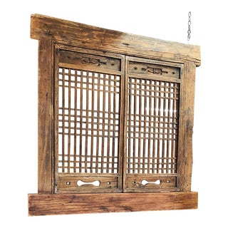 Antique Chinese Ming Style Solid Wood Hand Carved Architectural Room Divider/Window Screen For Sale