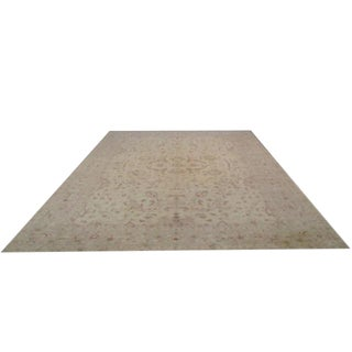 Traditional Hand Made Knotted Rug in Beige Gold Brick - 12′5″ × 15′8″ - Size Cat. 12x15 For Sale