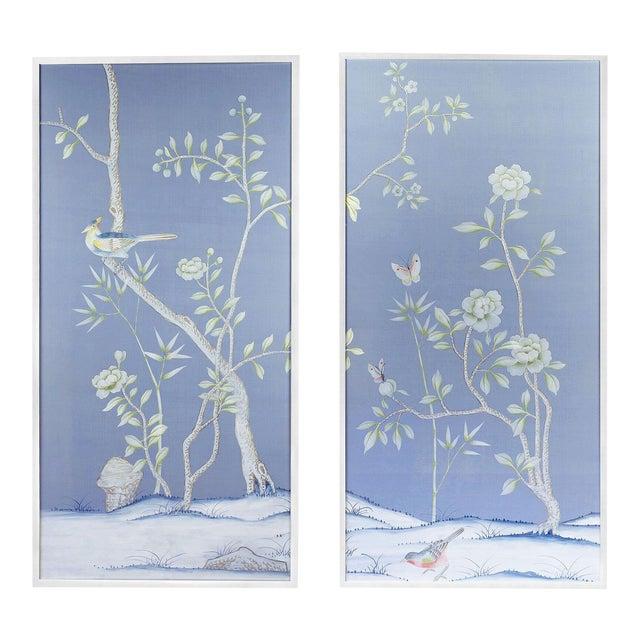 "Jardins en Fleur ""Furness"" Chinoiserie Hand-Painted Silk Diptych by Simon Paul Scott - a Pair For Sale"