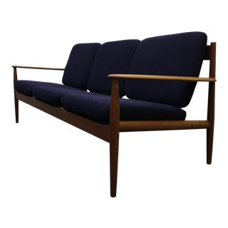 Solid Danish Teak Slat-Back Sofa by Grete Jalk for France & Son For Sale