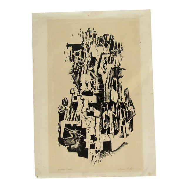 1950 Vintage Black and White Abstract Lithograph Print For Sale