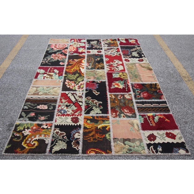 Vintage Turkish Besarabian Patchwork Kilim Rug - 5′6″ × 8′2″ - Image 2 of 6